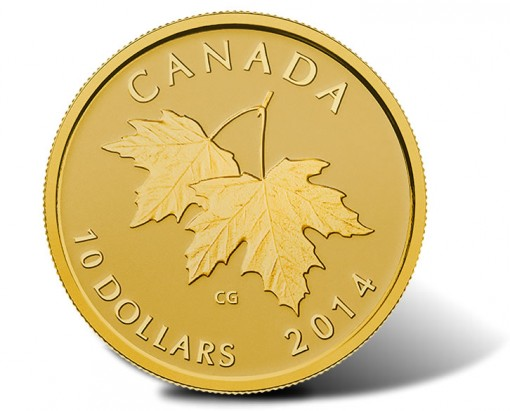 2014 Canadian $10 gold coin with Queen Elizabeth II effigy from 1953 (reverse)