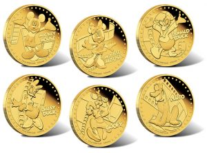 2014 Disney Mickey & Friends Collectible Coins in Gold