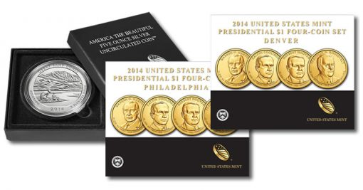 2014-P Great Sand Dunes Five Ounce Silver Coin and 2014 Presidential $1 Four-Coin Sets