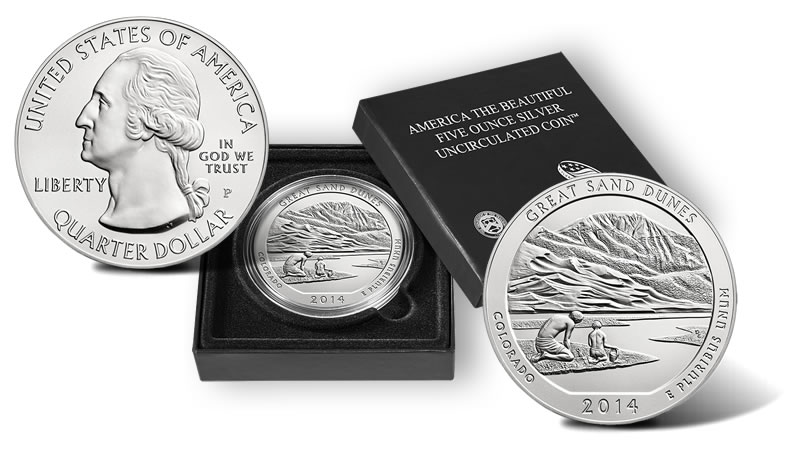 2014 Great Sand Dunes 5 Oz Silver Uncirculated Coin