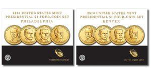 2014 Presidential $1 Four-Coin Sets from Denver and Philadelphia
