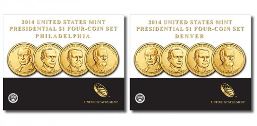 2014 P&D Presidential $1 Four-Coin Sets