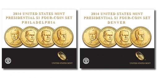 2014 P&D Presidential $1 Four-Coin Sets