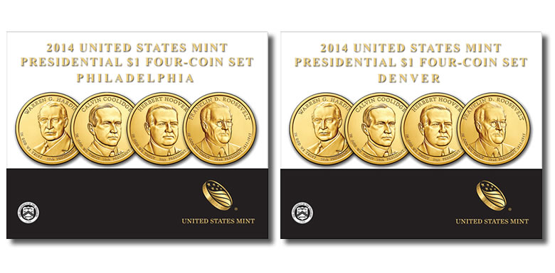 2014 D United States Mint Presidential $1 Four-Coin set