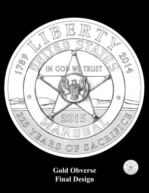 2015 $5 US Marshals Service Gold Coin Design (Obverse)