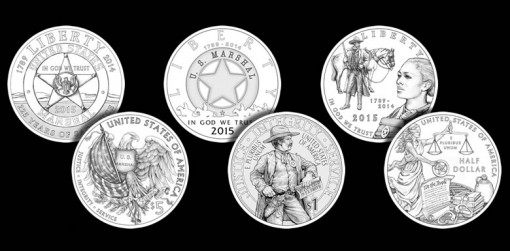 2015 US Marshals Service 225th Anniversary Commemorative Coin Designs - $5 Gold, Silver Dollar and Clad Half-Dollar