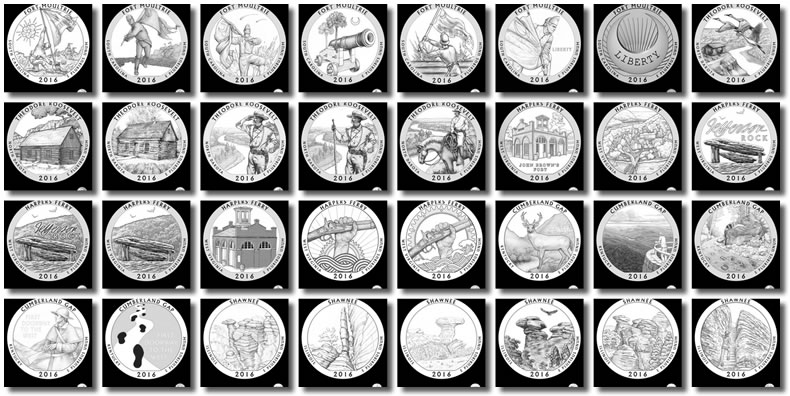 2016 America The Beautiful Quarter And Five Ounce Silver Coin Design Candidates