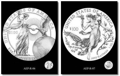 CCAC preferred designs for the 2015 and 2016 American Platinum Eagle Proof Coins
