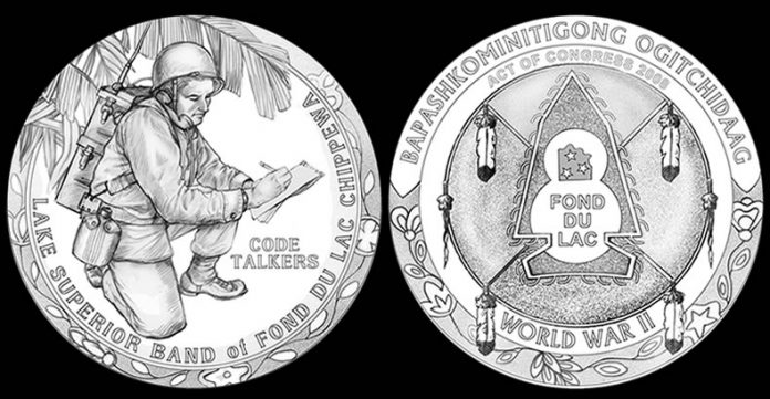 CFA and CCAC recommended Fond du Lac Chippewa Code Talkers Congressional Medal designs