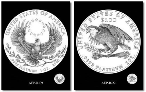 CFA preferred designs for the 2015 and 2016 American Platinum Eagle Proof Coins