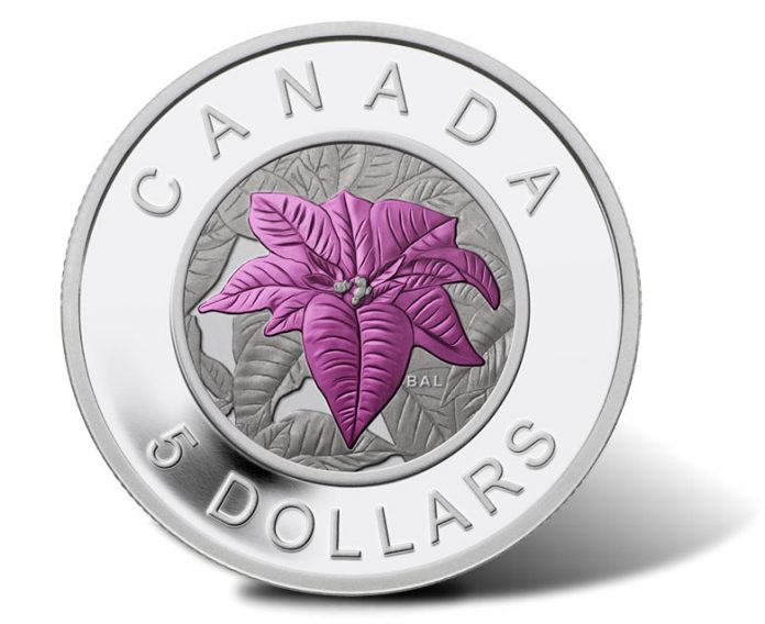 Canadian 2014 $5 Poinsettia Silver Coin with Niobium Coloring