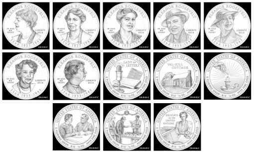 Design Candidates for 2014 Eleanor Roosevelt First Spouse Gold Coins