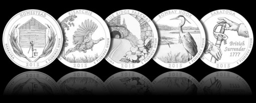 Designs for 2015 America the Beautiful Quarters and ATB Five Ounce Silver Coins