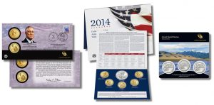 Franklin Roosevelt $1 Coin Cover, Annual Uncirculated Dollar Coin Set and Great Sand Dunes National Park Quarters Three Coin Set