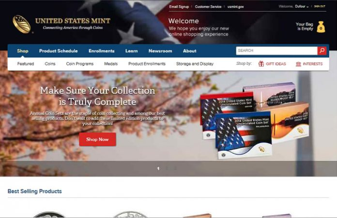 Front page of new U.S. Mint Website