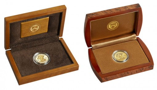 Lacquered Hardwood Presentation Cases for Proof and Uncirculated Eleanor Roosevelt Gold Coins
