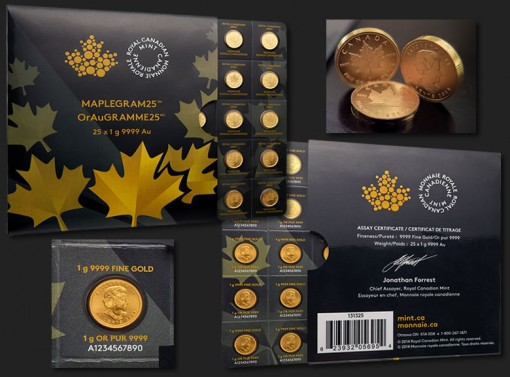 Maplegram25 packaging (front and back) and 1g Gold Maple Leaf bullion coins