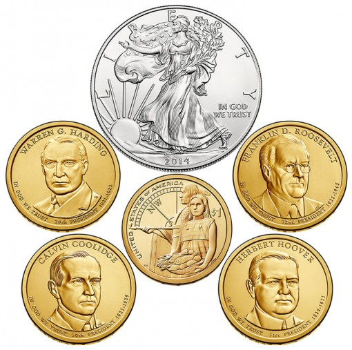 Six Coins of the 2014 Annual Uncirculated Dollar Coin Set