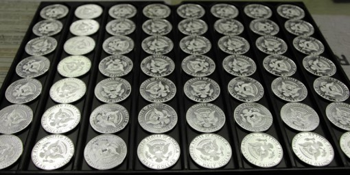 Tray of 2014-S Enhanced Uncirculated Kennedy Half-Dollar Silver Coins
