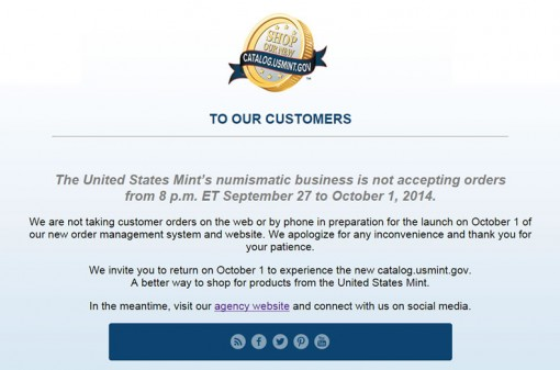 US Mint Customer Message