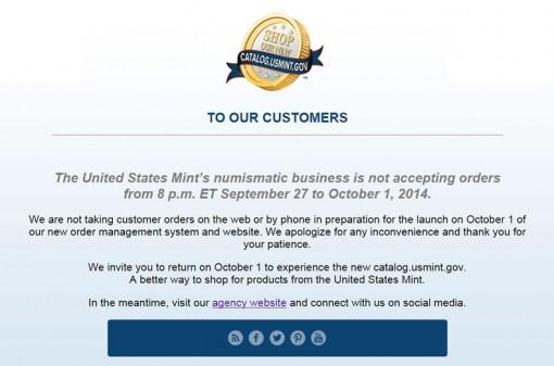 US Mint Customer Message