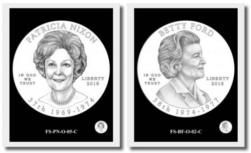 2 of the 27 First Spouse Gold Coin Design Candidates for 2016