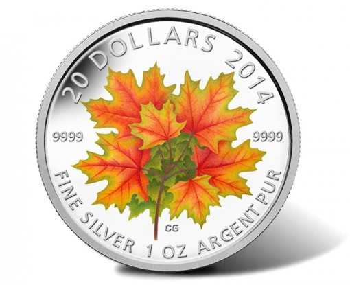 2014 $20 Maple Leaves Glow-in-the-Dark Silver Coin