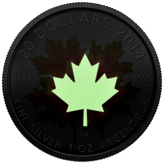 2014 $20 Maple Leaves Glow-in-the-Dark Silver Coin - Glowing in the Dark