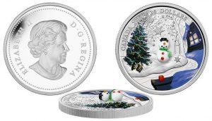 2014 $20 Silver Coin Features 3D Venetian Glass Snowman