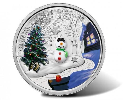 2014 $20 Venetian Glass Snowman Silver Coin - Reverse