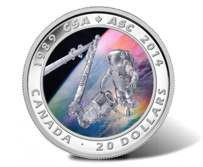 2014 25th Anniversary Canadian Space Agency Silver Coin