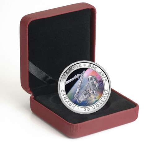 2014 25th Anniversary Canadian Space Agency Silver Coin and Case