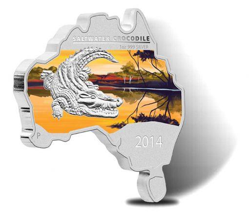 2014 Australian Map Shaped Saltwater Crocodile Silver Coin