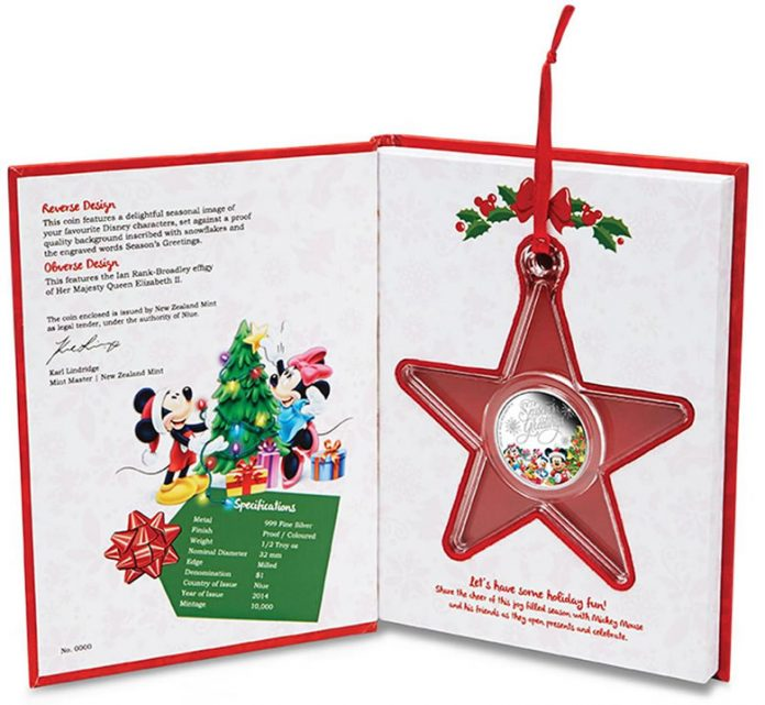 2014 Disney Season's Greetings Silver Proof Coin in Star-Shaped Coin Capsule and Packaging