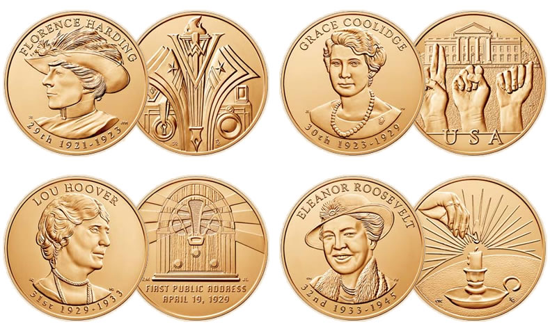 2010 FIRST SPOUSE MEDALS SET US Mint New 1st Lady ALL 4 Bronze Coins Complete