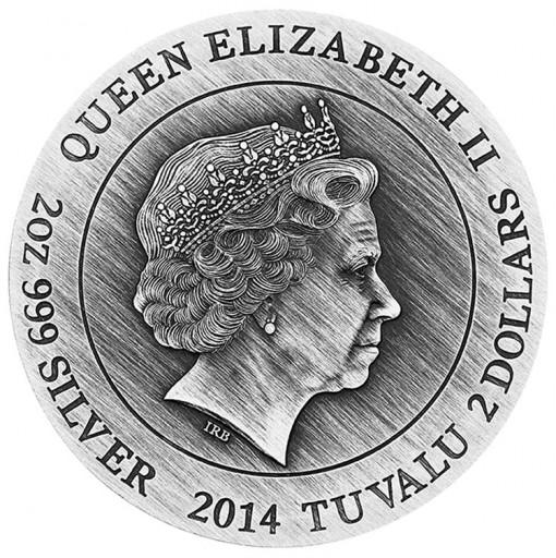 2014 Hades High Relief 2 Oz Silver Coin - Obverse