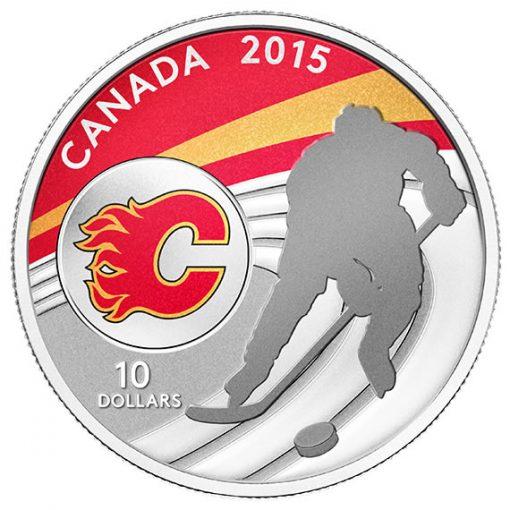 2015 $10 Calgary Flames Hockey Silver Coin