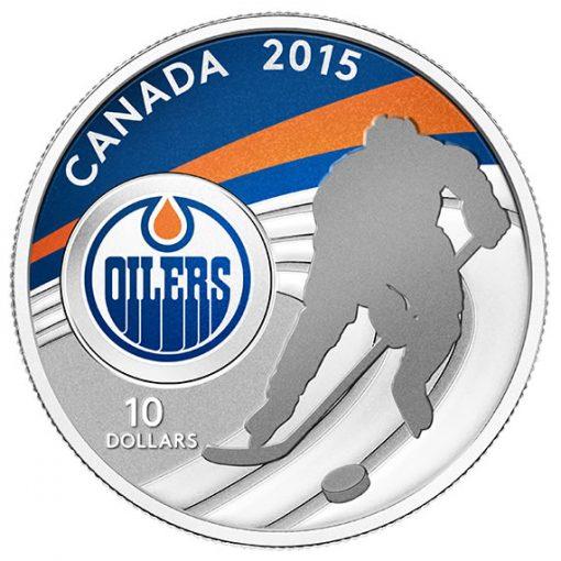 2015 $10 Edmonton Oilers Hockey Silver Coin