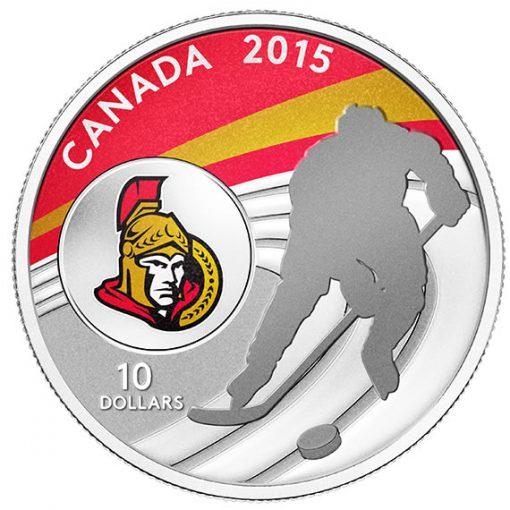 2015 $10 Ottawa Senators Hockey Silver Coin