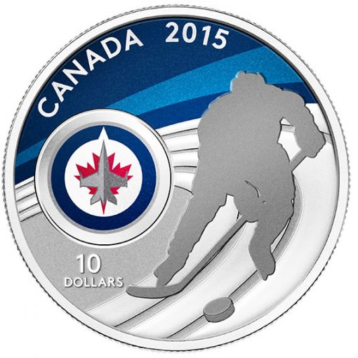 2015 $10 Winnipeg Jets Hockey Silver Coin