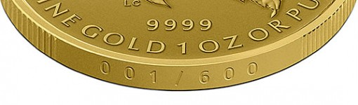 2015 Maple Leaf 1 Oz Gold Coin edge lettered with a serialized number