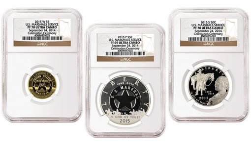 2015 US Marshals Service 225th Anniversary Commemorative Coins - $5 Gold, Silver Dollar, and Clad Half-Dollar