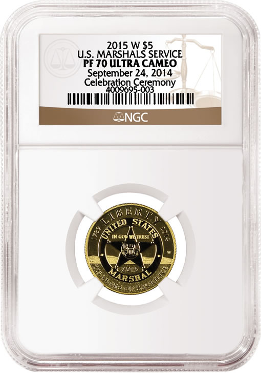 2015-W $5 Proof US Marshals Service Gold Commemorative Coin - Obverse