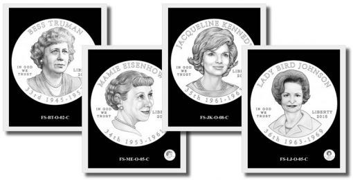 4 of the 52 First Spouse Gold Coins Design Candidates for 2015