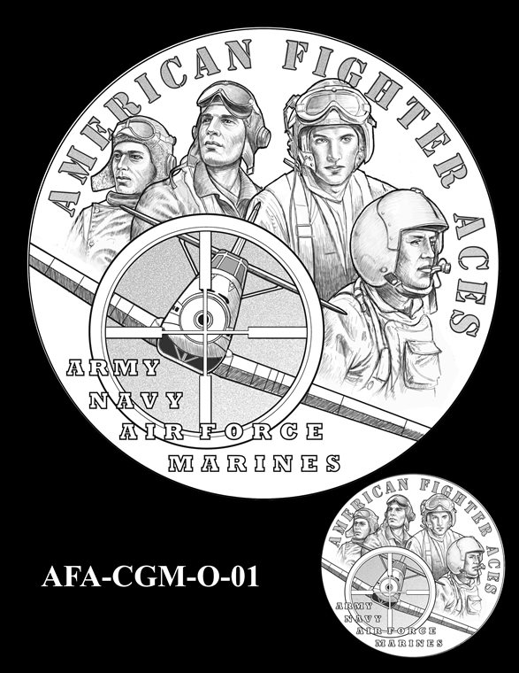 American Fighter Aces Congressional Gold Medal Design Candidate AFA-CGM-O-01