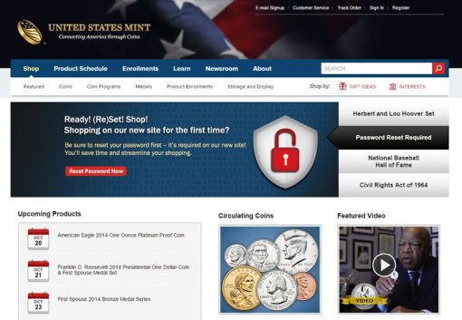 Password Reset Required - US Mint Website