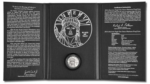 Presentation case for the 2014-W Proof American Platinum Eagle Coin