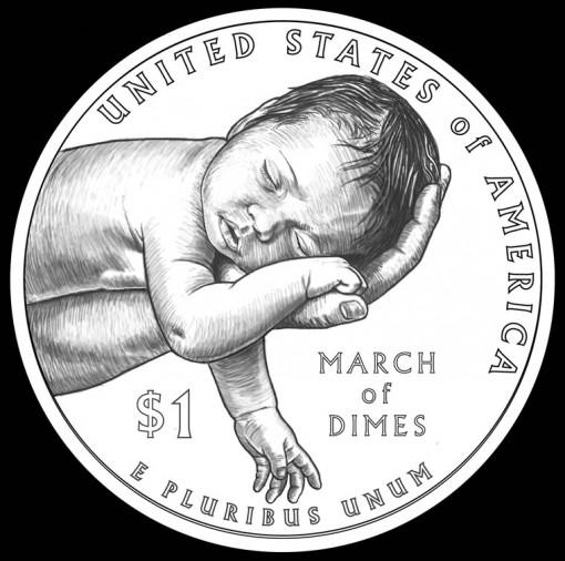 Reverse Design for 2015 March of Dimes Silver Dollar Commemorative Coin