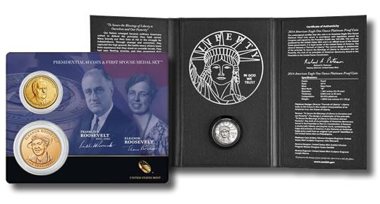 Roosevelt 1 Coin and Medal Set, proof Platinum Eagle
