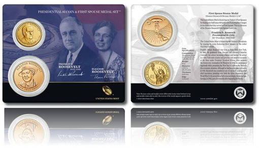 Roosevelt Presidential $1 Coin and First Spouse Medal Set